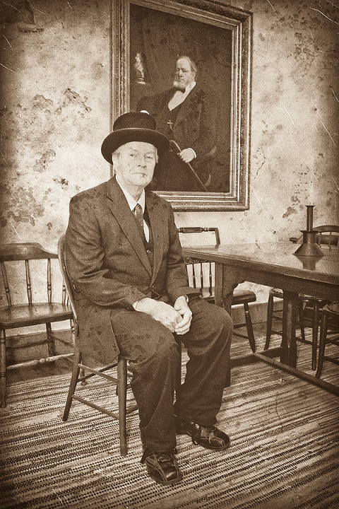 sepia photo of missionary in brigham young home in old nauvoo by tom simpson photography